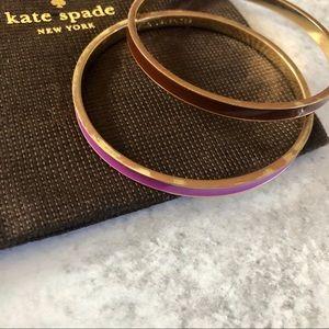 Kate Spade Purple and Brown Idiom Bangle Bracelets